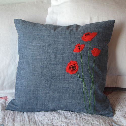 embroidered poppies - Poppies make me smile :)
