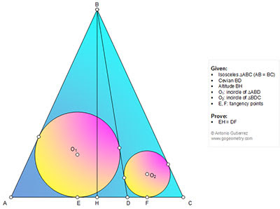 Online Math: Geometry Problem 1149: Isosceles Triangle, Altitude, Cevian, Incircles, Tangent, Congruence.