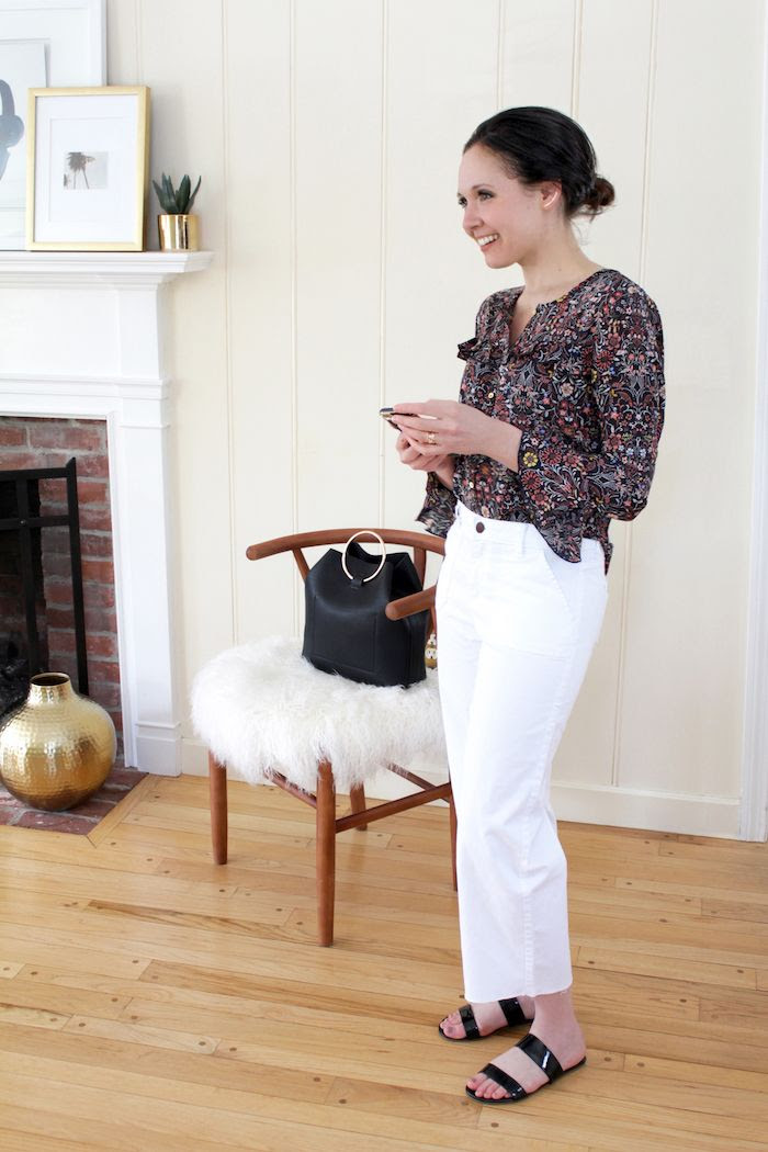 Floral Bell Sleeve Top Cropped Wide Leg Raw Hem White Jeans Metal Ring Handle Bag Low Bun Spring Outfit Inspiration LC Lauren Conrad Collection Kohls Le Fashion Blog
