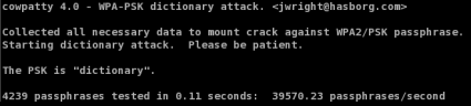 coWPAtty Hash Table Attack