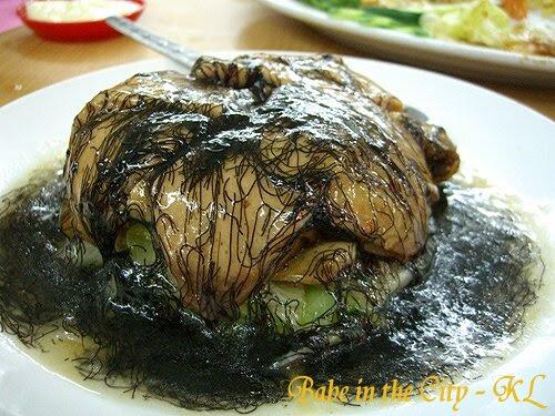 FS - vegetarian dish of glutens, dao bao with fatt choi (seaweed)