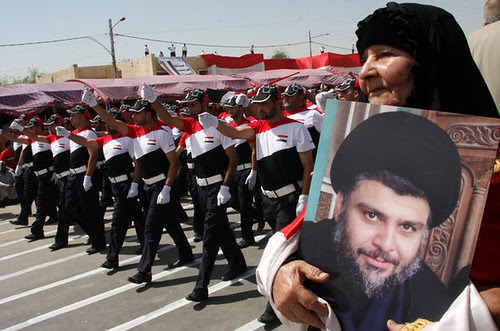 Supporters of the Iraqi leader Muqtada al-Sadr demonstrate in Baghdad demanding the withdrawal of United States imperialist troops from the country by the end of the year. The group says they will resume armed struggle if the imperialists remain. by Pan-African News Wire File Photos