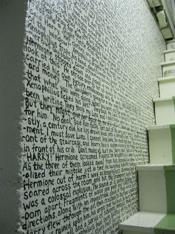 A chapter from Harry Potter and The Deathly Hallows transcribed onto a wall.  I think this is a must in my future home.