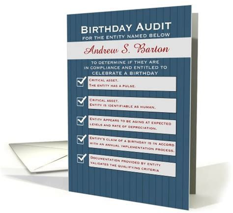 Birthday Compliance Auditor Humor Navy Pinstripe