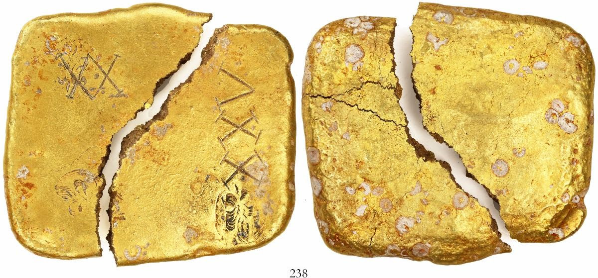 Square Gold Ingot Broken In Two Marked With Fleur De Lis Three
