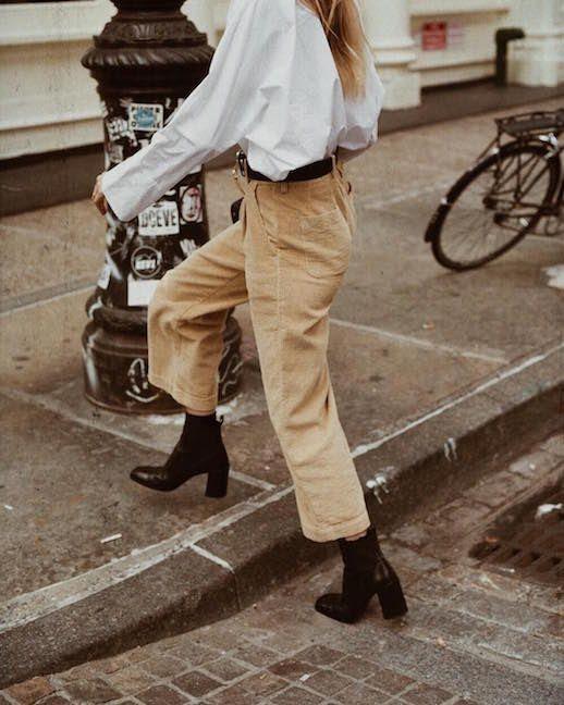Le Fashion Blog White Button Down Shirt Beige Corduroy Pants Black Heeled Boots Blogger Style Via @Nycbambi