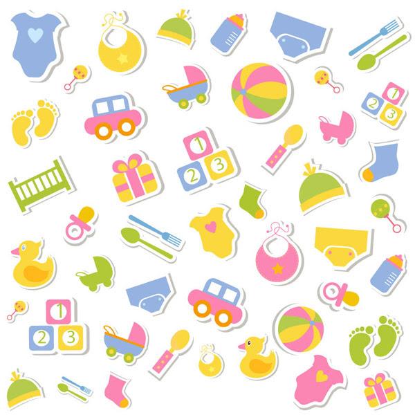 Latar Belakang Anak-anak S Mainan Stiker-Vector Latar Belakang-vektor  Gratis Download Gratis