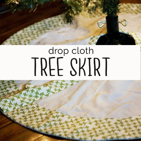 diy drop cloth tree skirt buttons tutorial