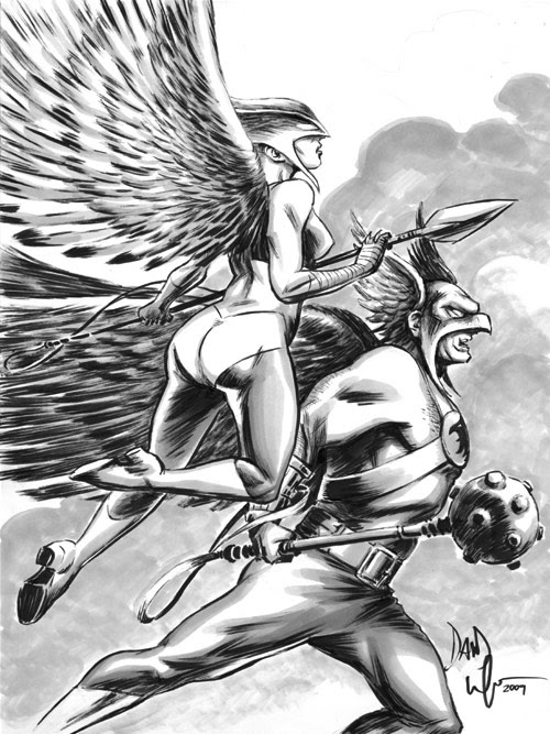 Hawkman and Hawkgirl sketch by Dave Wachter