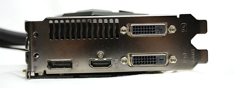 The card's display connectors include two DVI-D ports, one DisplayPort output, and one HDMI connector.