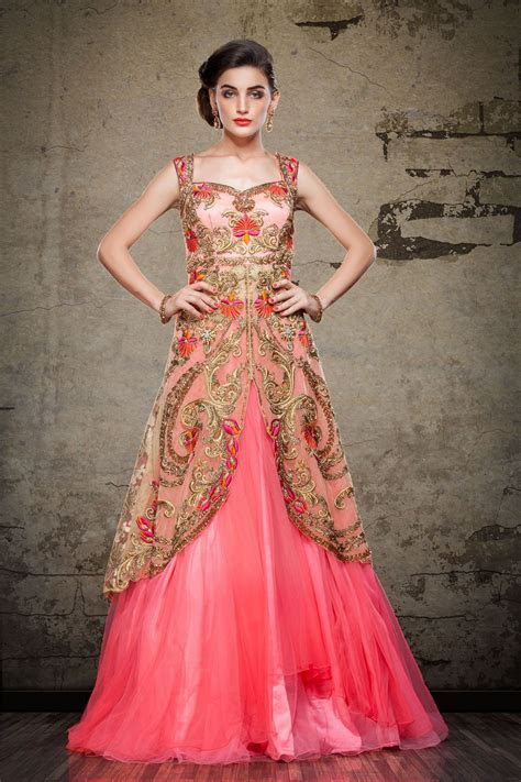 Pink Net Designer Readymade Gown 63162 in 2019   Beauty