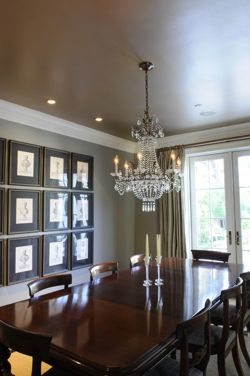 Luxurious Gold and Silver Painted Dining Room Ceiling traditional dining room