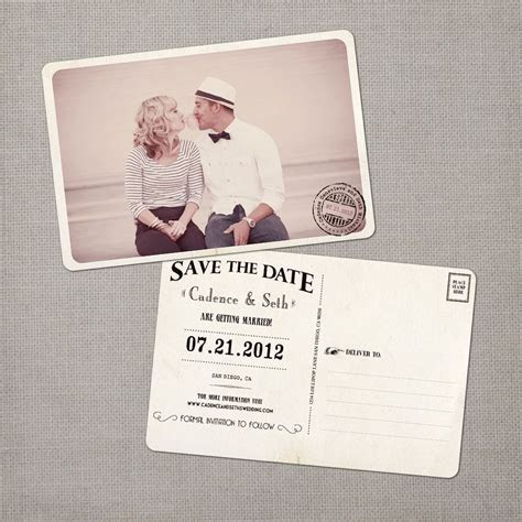 Wedding save the date post card, Save the Date Vintage