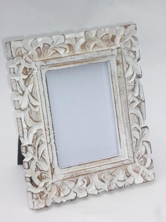 Vintage White Washed Wooden Photo Frame Leaf Design