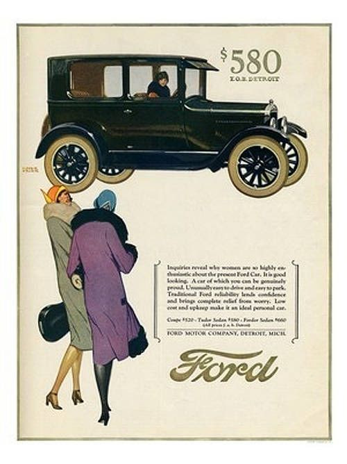 Art Deco Ad for Ford  ($580 for a new car!)