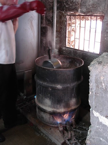 Kashering process: the vat of boiling water