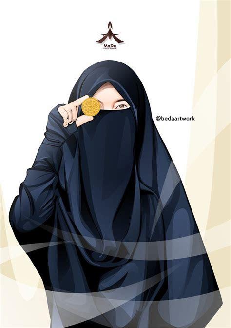 gambar kartun muslimah bercadar pakaian syari islam