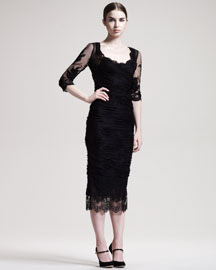 Dolce & Gabbana Elbow-Sleeve Ruched Tulle Dress