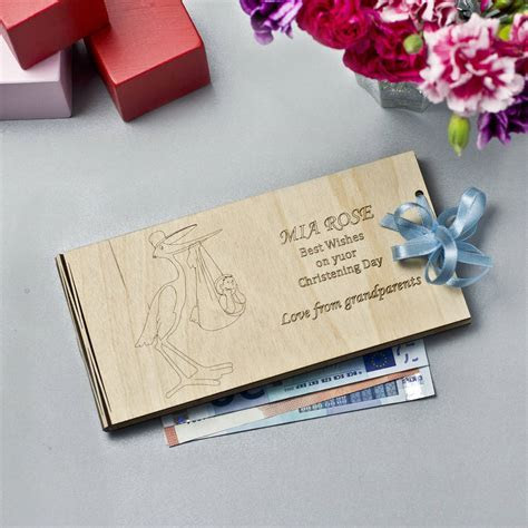 personalised wooden money christening gift envelopes by