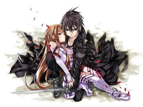 Imagen de Kirito enfadado mientras que sostiene a Asuna para que no se caiga al suelo. El viste de negro y ella de blanco y rojo.