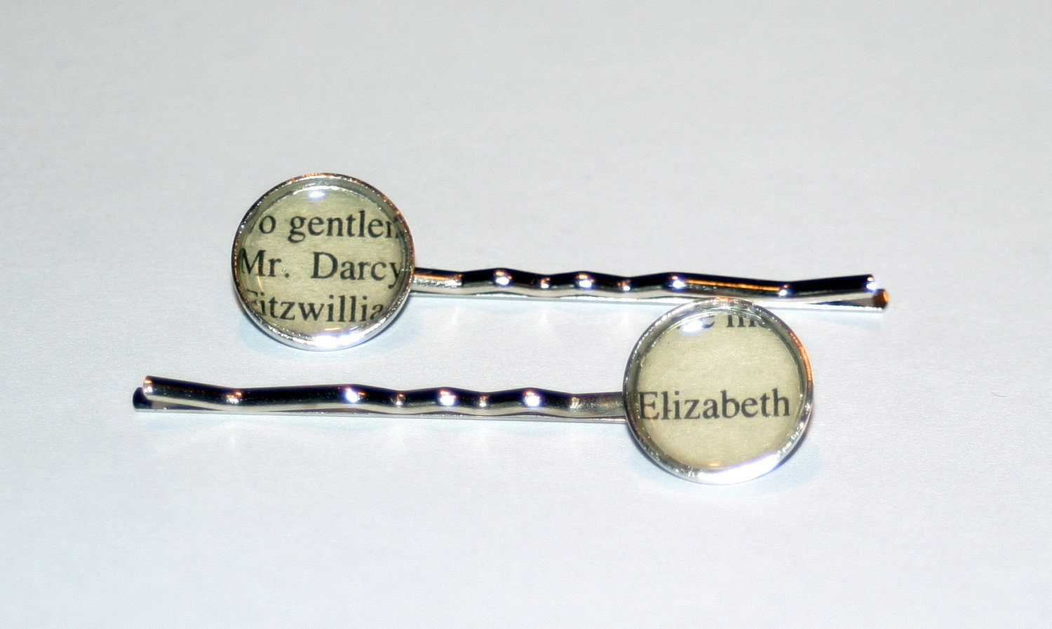 Literary Hair Pins - Pride and Prejudice, Mr Darcy and Elizabeth