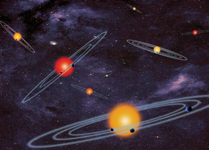 An artist's concept of so-called multiple-transiting planet systems, many of which have been discovered by NASA's Kepler spacecraft.