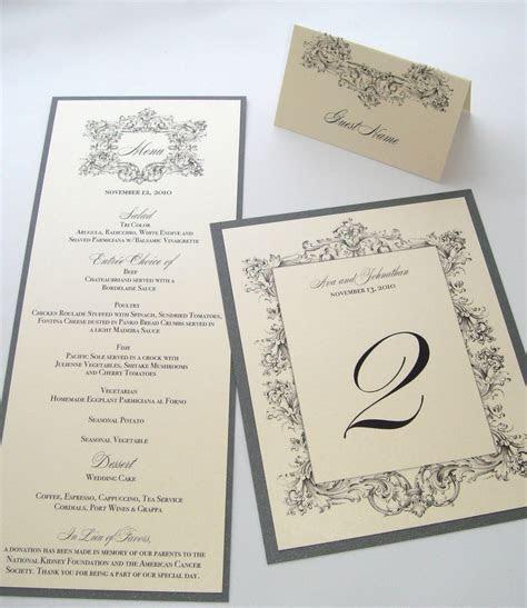 Ava Vintage Wedding Reception Stationery   Menu Place Card