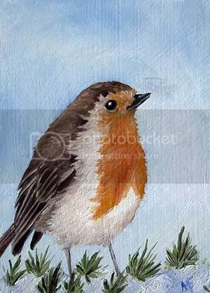 robin bird oil painting