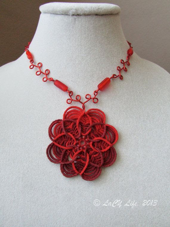 Celtic Tatted Daisy Pendant With Beaded WireWork by LacyLife, $48.00