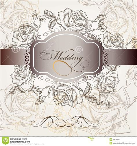 Wedding Invitation In Elegant Style With Roses Stock