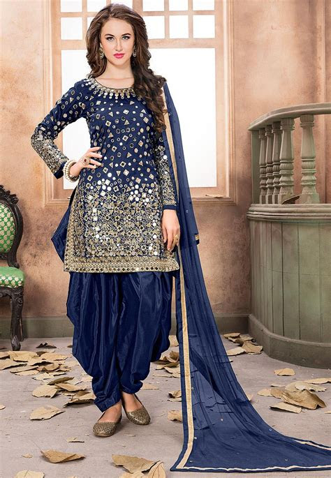 embroidered taffeta silk punjabi suit  navy blue kch
