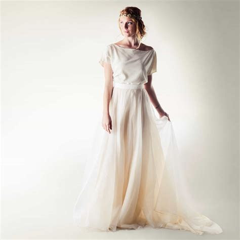 Silk two piece wedding dress ~ Larimeloom   Made in Italy