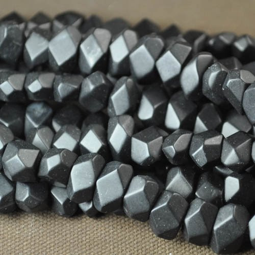 s20068 Stone Beads -  Faceted Nuggets - Matt Black Onyx (1)