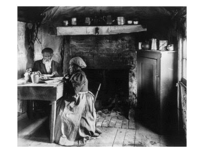 Elderly African American Couple Eating at the Table by a Fireplace, Rural Virginia, 1899-1900 Giclee Print