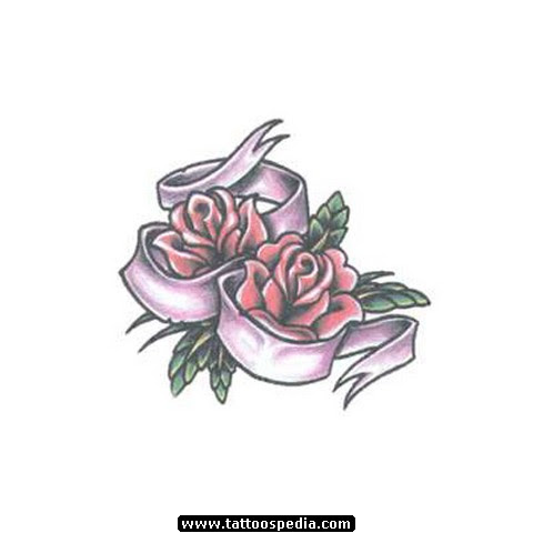 Banner And Rose Flowers Tattoo Design
