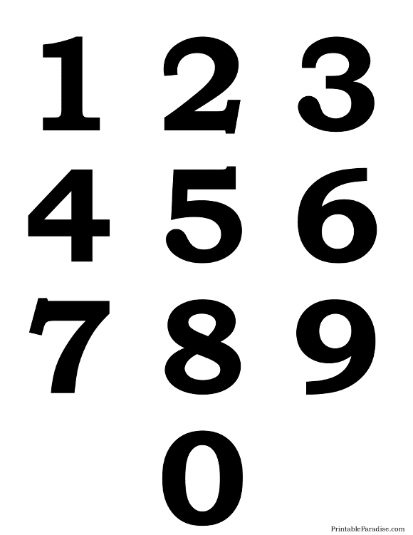 Printable Silhouette Number 0-9 on One Page