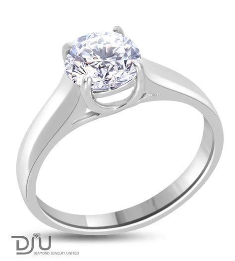 1 carat E VS2 Round Solitaire Diamond Engagement Ring Set