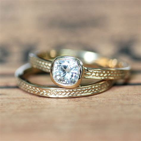 Moissanite wedding set braided gold ring recycled gold