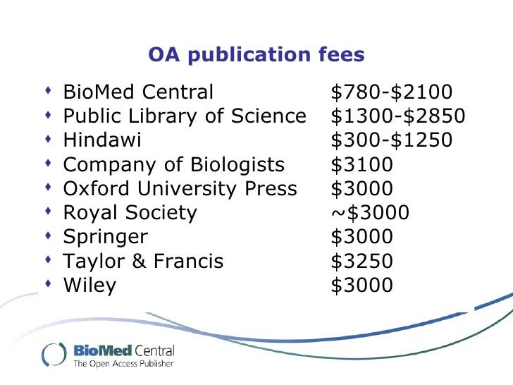 Open Access Publishing charges: Image credit: BMC