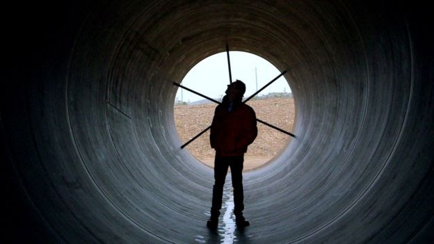 Spencer Kelly inside a Hyperloop tube
