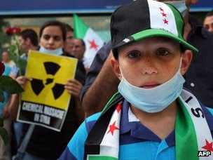 Syrians in Bulgaria protest against Wednesday's suspected chemical weapons attack (23 August 2013)
