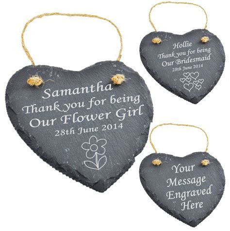 Engraved Heart Slate Bridesmaid   Flower Girl Personalised