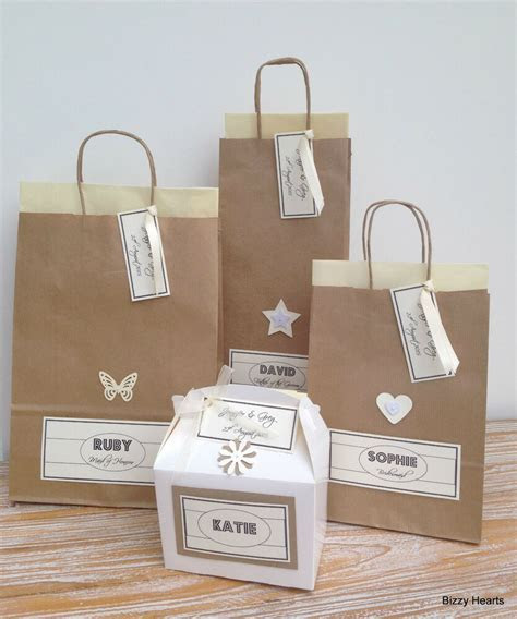 PERSONALISED PAPER VINTAGE STYLE WEDDING GIFT BAGS PARTY