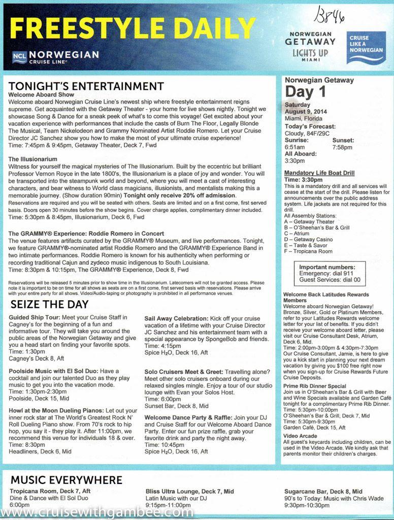 Norwegian Getaway Daily Schedule 2015   Daily Planner