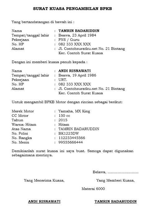 Contoh Surat Kuasa Pengambilan Bpkb Motor Di Fif