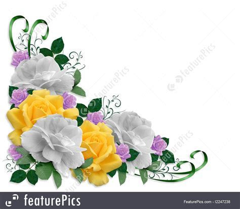 Templates: Wedding Roses Border Easter Colors   Stock