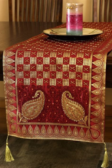 Luxurious Artistry Paisley Table Runner   Banarsi Designs