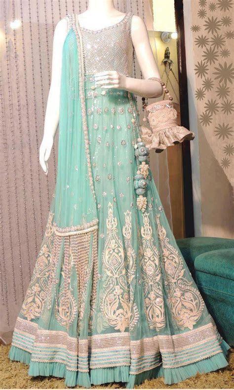 mint green wedding dress bridal lehenga   bridal wear