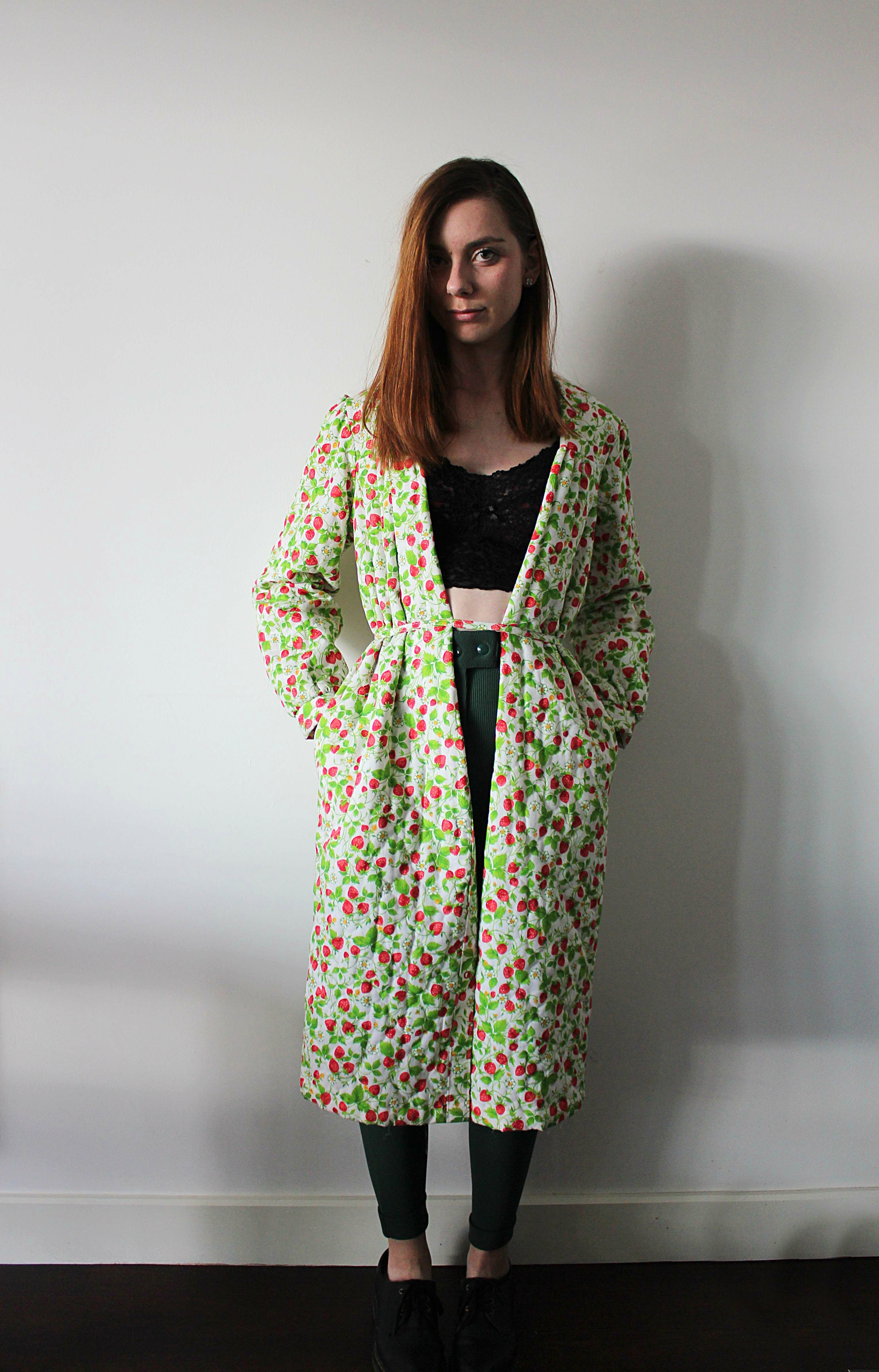 Vintage strawberry print coat