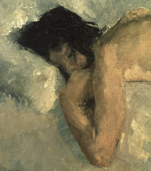 imagediver:  Click on the image to see the detail in a zoomable context. Detail from Reclining Nude, George Hendrik Breitner, about 1887